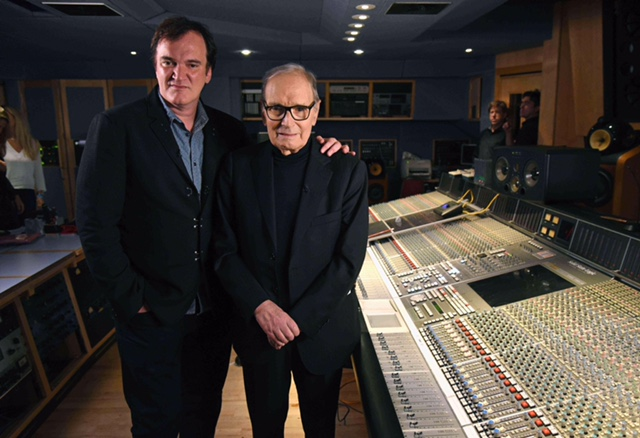 LONDON, ENGLAND - DECEMBER 09:  Quentin Tarantino and Ennio Morricone at Abbey Road Studios for the Live to Lathe Limited Edition Recording of the H8ful Eight Soundtrack on December 9, 2015 in London, England.  (Photo by Kevin Mazur/Getty Images for Universal Music)